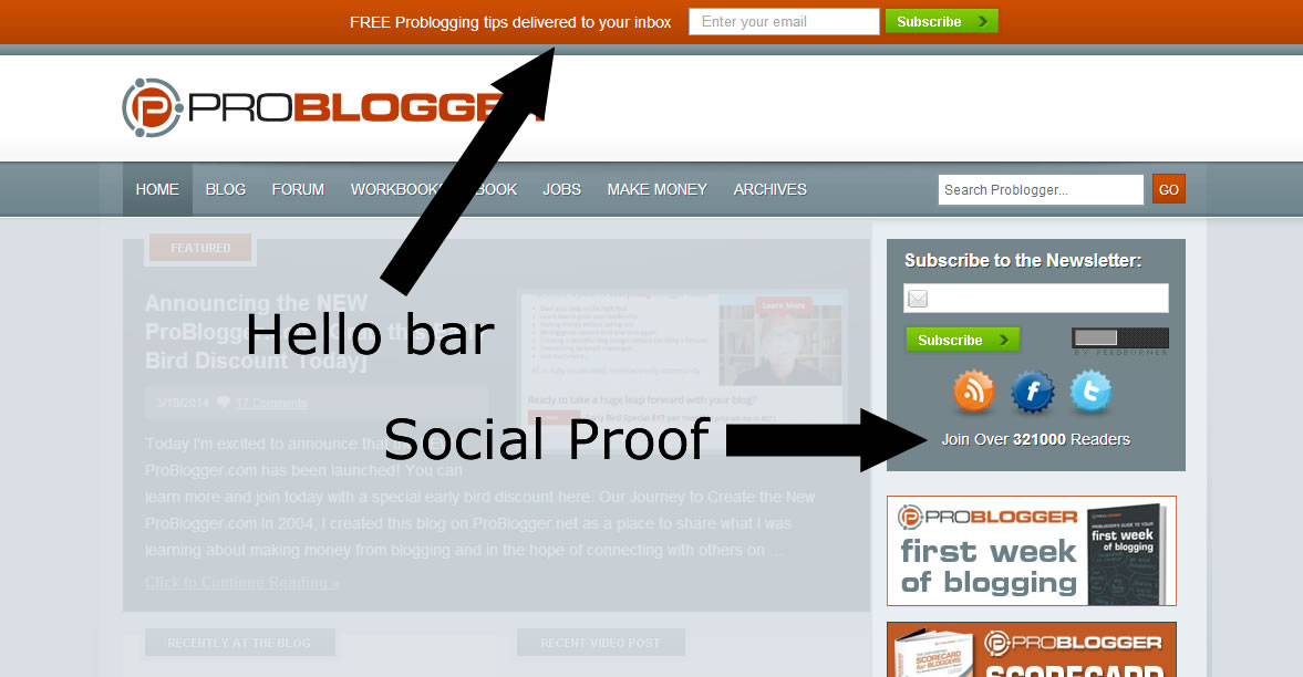 ProBlogger - Social Proof and the Hello Bar
