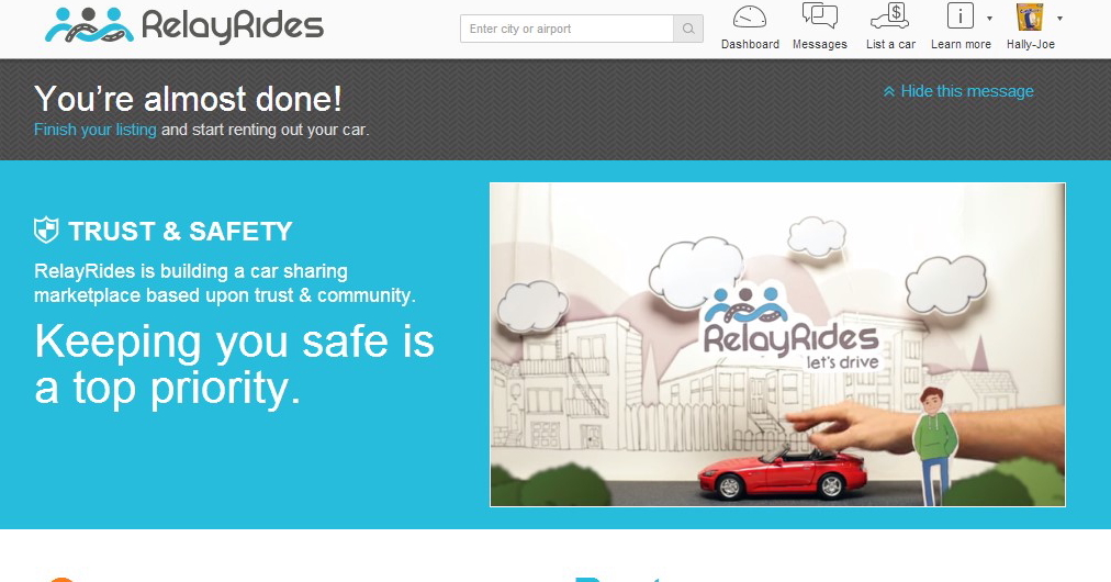 RelayRides allows you to rent out your car for money.