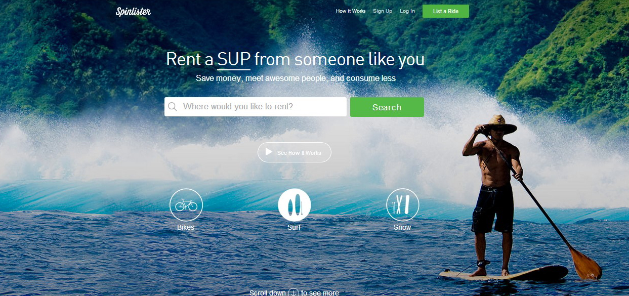 Spinlister lets you rent out your bike, snowboard, skis, surfboard and SUP.