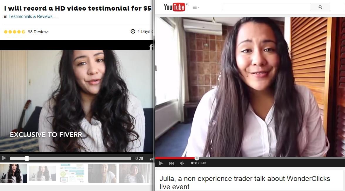 Wonder clicks video testimonials are fake