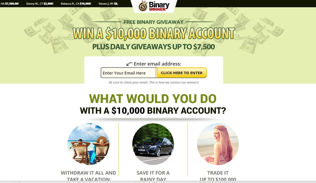 The binary options win money now