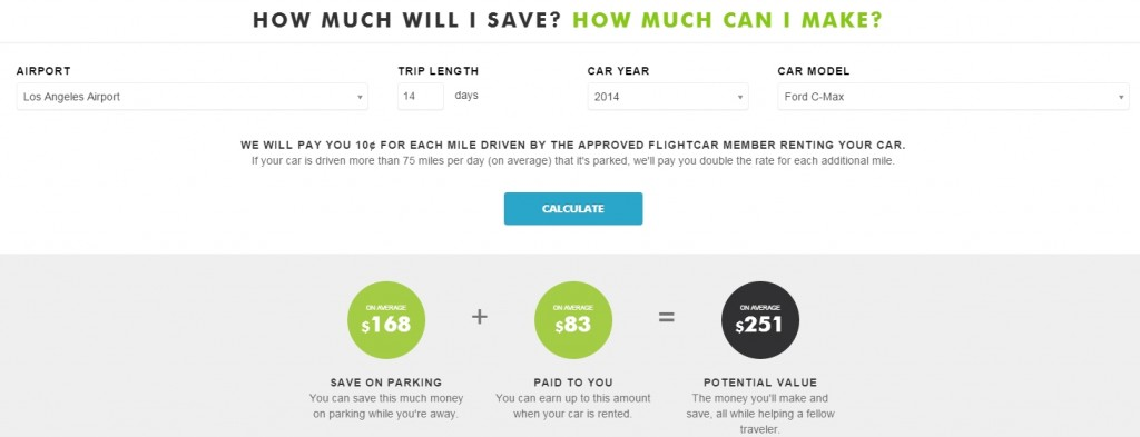 Flightcar Example Earnings