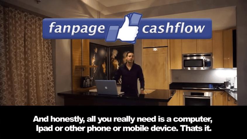 Fanpage cashflow just a computer