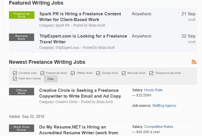 Convenient freelance writer jobs online
