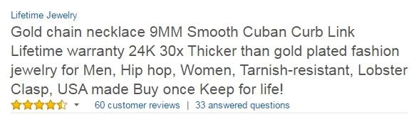 Amazon Keyword Stuffed Product Title