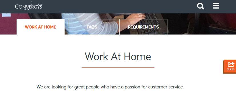 Convergys work at home jobs