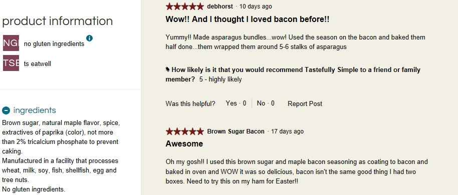Food Items Are Listed With Ings As Well Customer Reviews For Example Here Is The Information On Brown Sugar Maple Bacon Seasoning