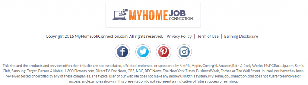 MyHomeJobConnection disclaimer