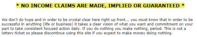 My Secret Sites earnings disclaimer