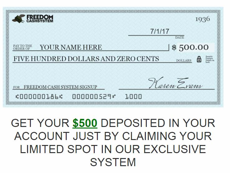 Freedom Cash System 500 dollars