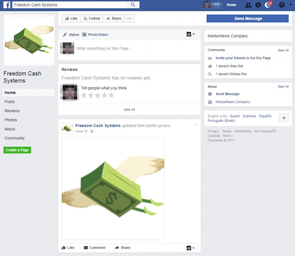 Freedom Cash System Facebook