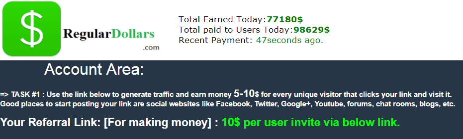 Regular Dollars per click