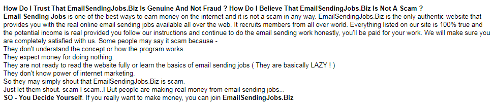 Email Sending Jobs trust