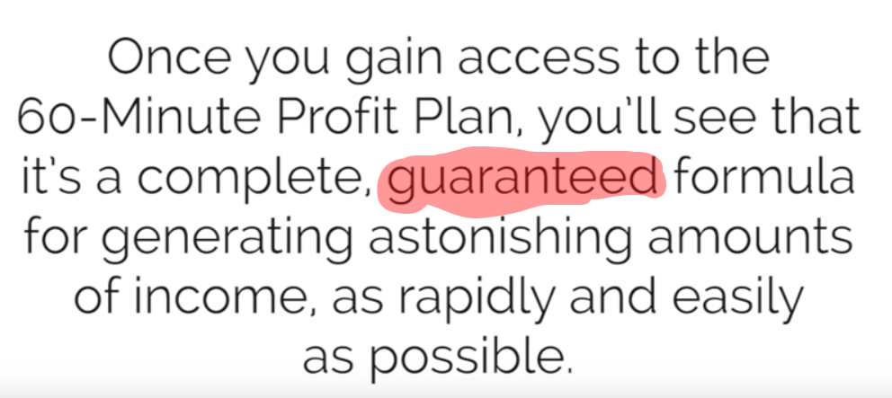 60 minute profit plan guaranteed terms conflict