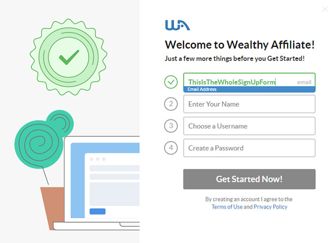 Wealthy Affiliate signup form