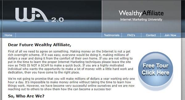 Wealthy Affiliate in 2007