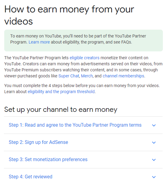 Monetize youtube channel